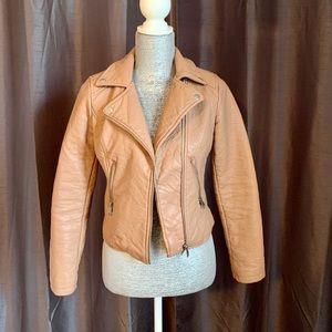 Faux Tan Leather Moto Jacket